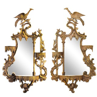 Pair of Opposing Giltwood Carved Eagle Mirrors For Sale