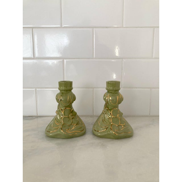 Vintage 1960s Holland Mold Green and Gold Flower Candle Holders - a Pair For Sale - Image 4 of 11
