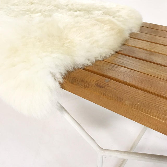 Harry Bertoia for Knoll Slat Bench With Brazilian Sheepskin For Sale In Saint Louis - Image 6 of 8