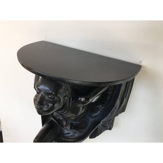 Black Pair of Polychrome Venetian Black Lacquered Blackamoor Wall Brackets For Sale - Image 8 of 10