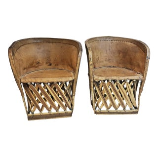 Vintage Leather & Wood Barrel Back Chairs - a Pair