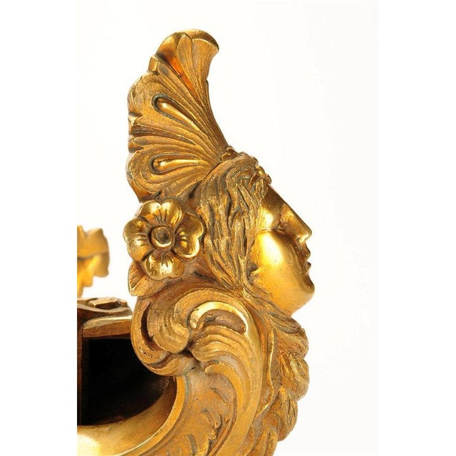 French 19th century Beautiful Pair of Bronze Figural Wall Brackets For Sale - Image 5 of 6