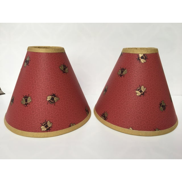 Red 1990s Vintage Gold Bees & Honeycomb Lamp Shades - A Pair For Sale - Image 8 of 8