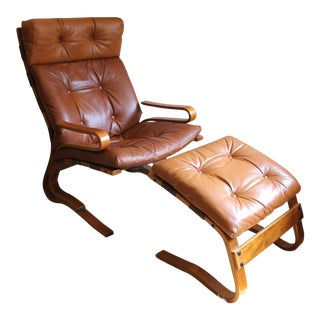 1960s Vintage Norwegian Leather Highback Lounge Chair and Ottoman For Sale
