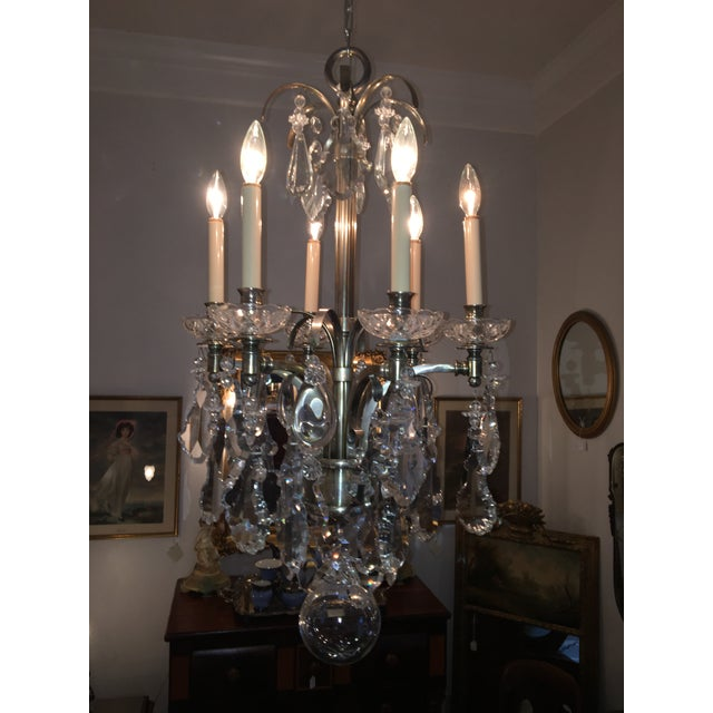 "This (5) arm vintage Hart crystal chandelier has over 118 crystals in a myriad of sizes: Largest size: 7"" H x 4.25"" W 2nd..."