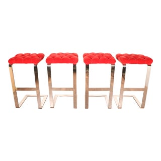 1970s Chrome & Red Velvet Bar Stools- Set of 4 For Sale