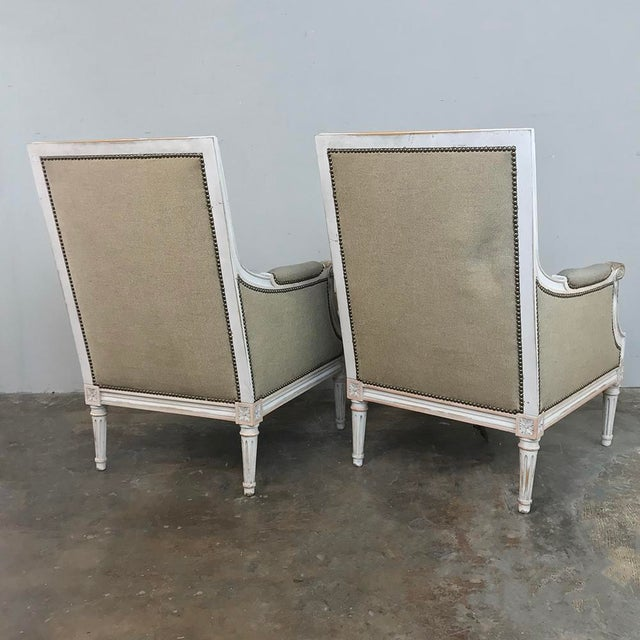 Pair 19th Century French Louis XVI Bergeres ~ Armchairs For Sale - Image 11 of 13