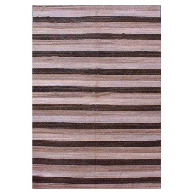 Contemporary Striped Afghan Kilim Rug - 9'4'' x 13'2'' For Sale - Image 4 of 4