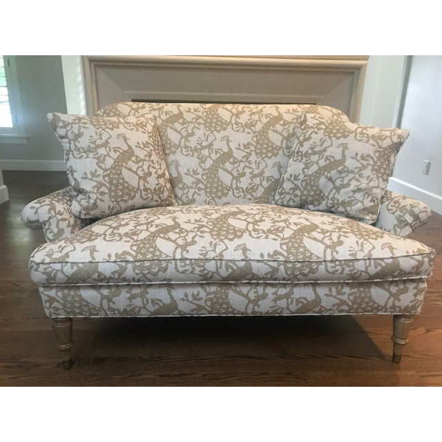 Traditional Lee Industries Taupe Peacock Print Loveseat For Sale - Image 9 of 9