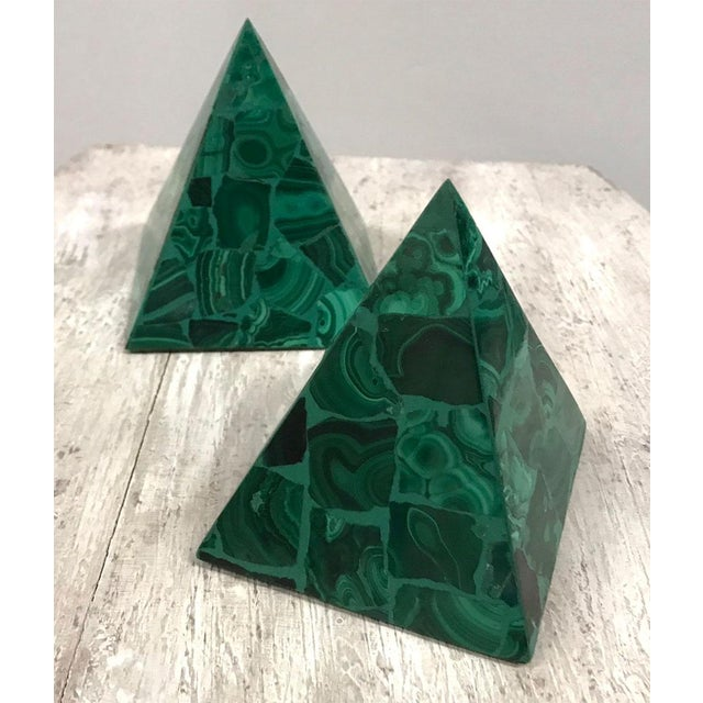 Hollywood Regency Malachite Pyramidal Sculptures — a Pair For Sale - Image 3 of 8