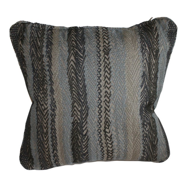 Robert Allen Zigzag Graphite Pillow Cover For Sale