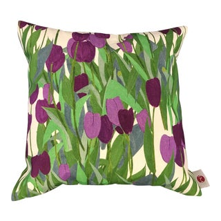 "18"" Pillow in In Bloom Fabric, Spinel Red For Sale"