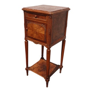 Antique French Louis XVI Accent Side Table With Rose Marble Top For Sale