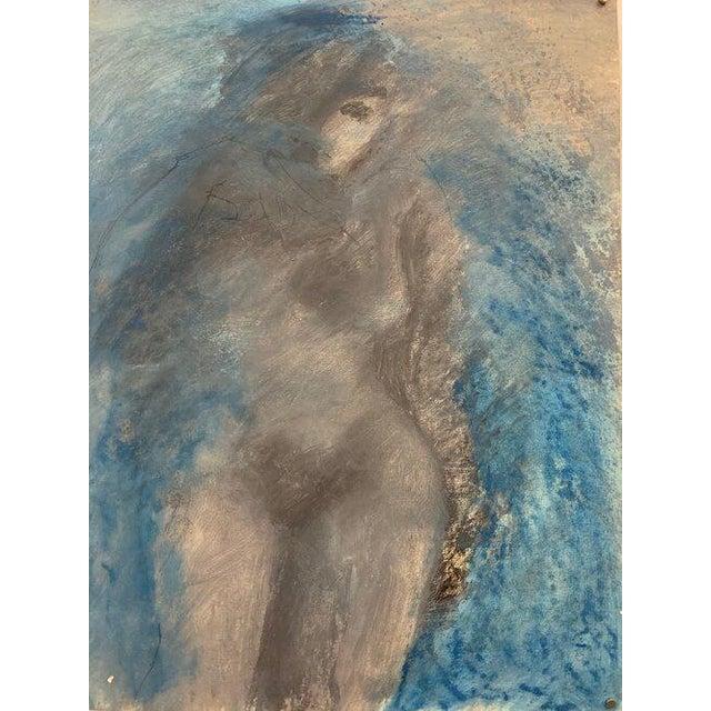 """Mid Century 1960s """"Dreamy, Blue Figure"""" Pastel & Gouache Ccac Female Artist For Sale"""