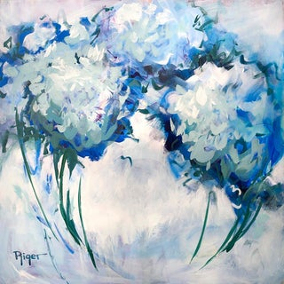"""""""Hydrangeas on My Mind"""" Contemporary Expressionist Floral Still Life Acrylic Painting For Sale"""