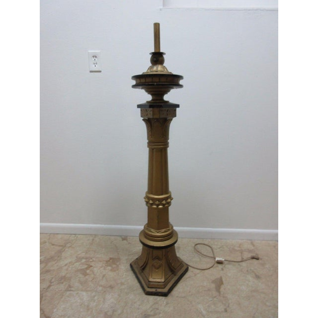 Antique Victorian Masonic Mason Taper Pole Lamp - Image 2 of 7