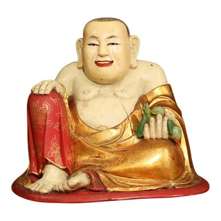 "19th Century Chinese Hand-Carved Painted Polychrome ""Laughing Buddha"" Sculpture For Sale"