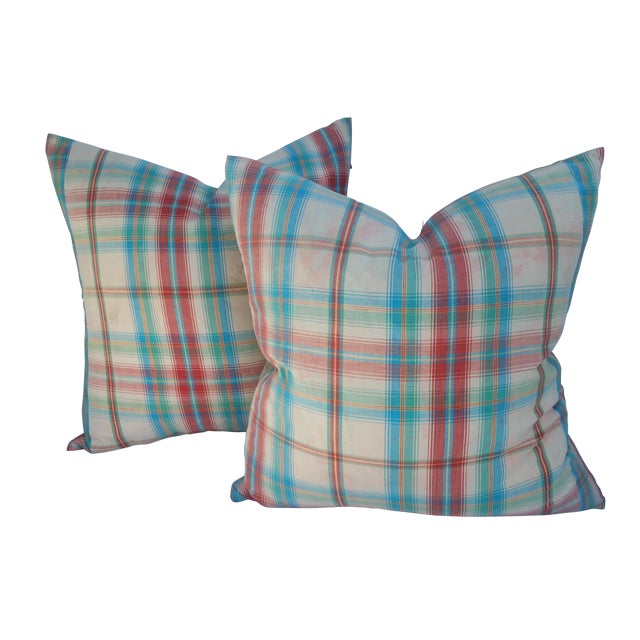 1970's Madras Plaid Pillows - Image 1 of 6