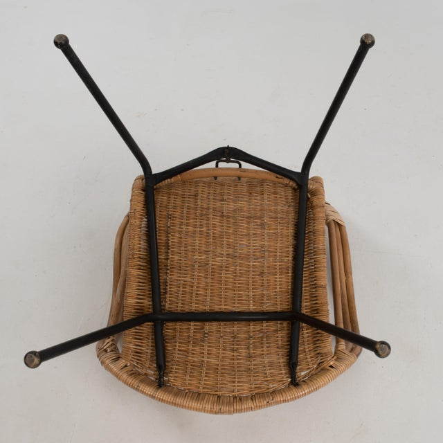 Mid Century Boho Bamboo Rattan Hoop Chair For Sale - Image 12 of 13
