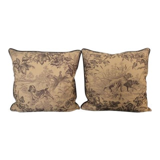 Brunschwig & Fils Hunting Toile in Tobacco & Cream Pillows - a Pair For Sale