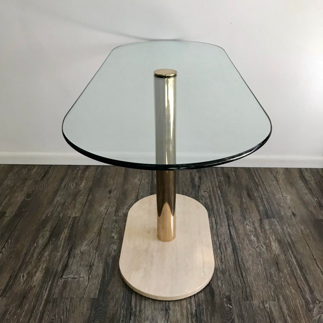 Pace Collection Pace Collection Marble, Brass & Glass Console Table For Sale - Image 4 of 7