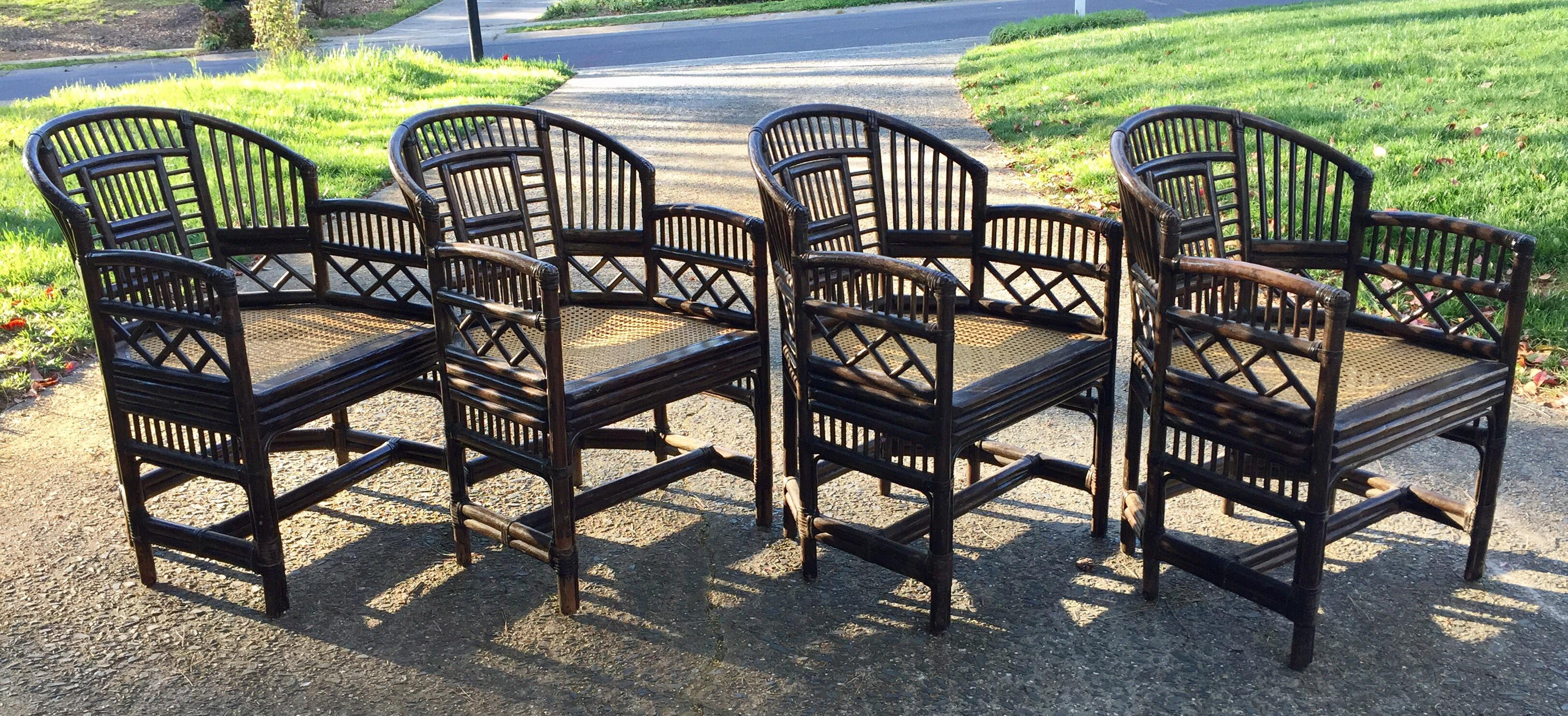 Brighton Pavilion Vintage Bamboo Rattan Chairs U0026 Table For Sale  Image 4 Of 11