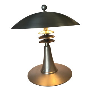"""1930s Art Deco Style Machine Age Table Lamp W/ Large 14"""" Spun Aluminum Shade For Sale"""