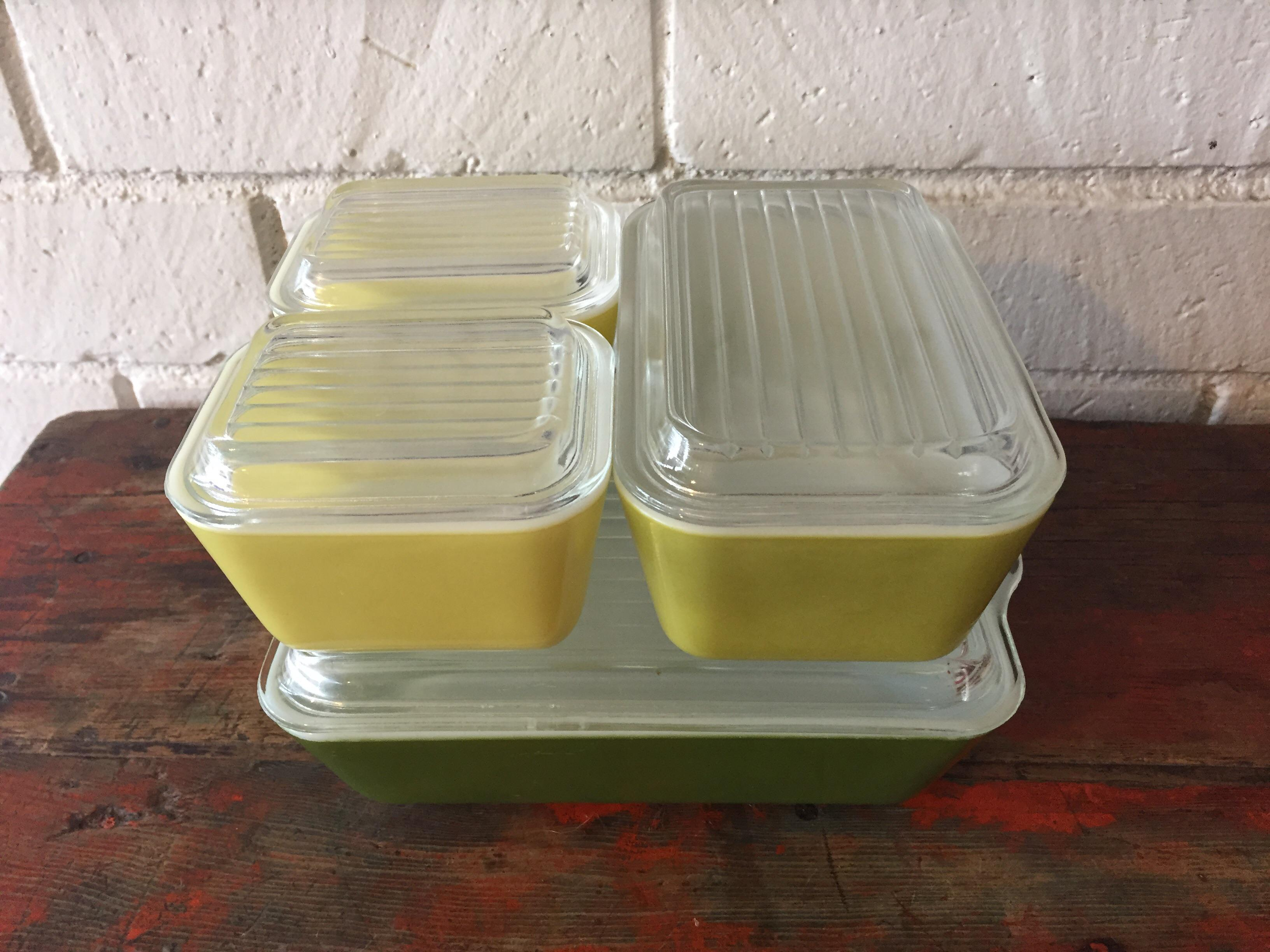 Vintage Pyrex Verde Green Refrigerator Storage Containers   Set Of 4    Image 3 Of 8