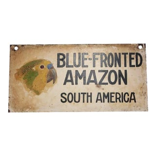 "1930s Hand-Painted ""Blue Fronted Amazon"" Sign"