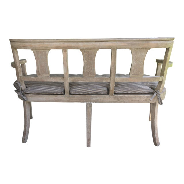 Vintage French Washed Finish Bench - Image 1 of 3