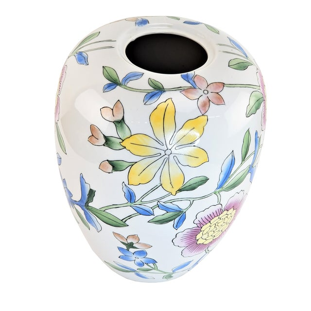 """Chinese Asian 14"""" Floral Pink Peony White Yellow Porcelain Vase For Sale - Image 3 of 7"""
