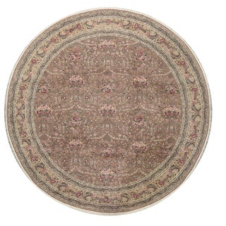 Traditional Hand Woven Round Brown and Cream Wool Rug - 10' X 10'