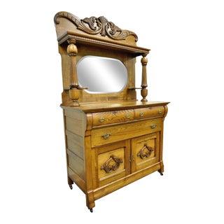 Antique Victorian Golden Quartered Oak Carved Mirror Sideboard Server Buffet