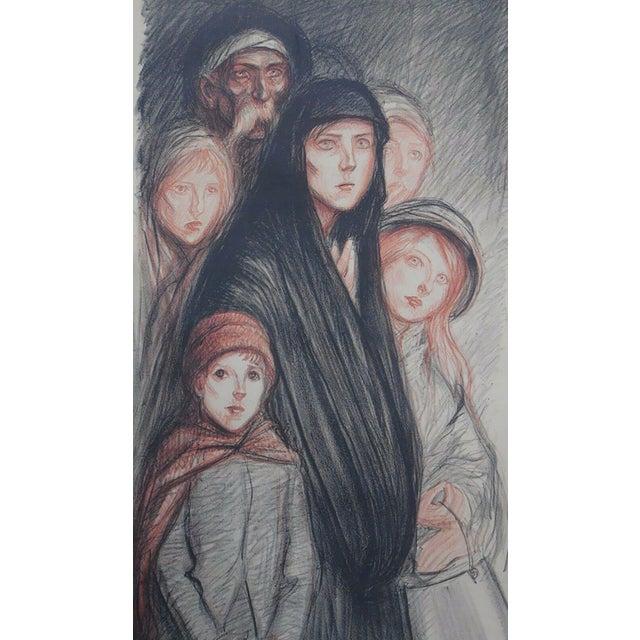 """Art Nouveau 1915 Art Nouveau Théophile Alexandre Steinlen """"En Belgique Les Belges Ont Fain"""" Lithograph For Sale - Image 3 of 3"""