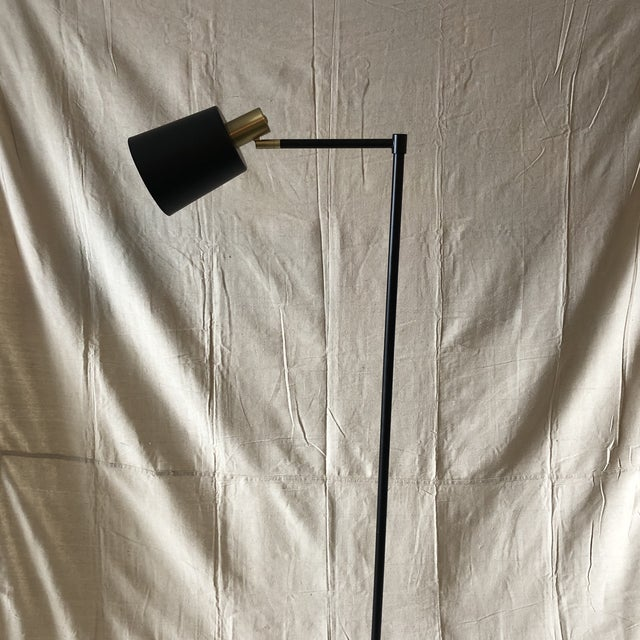Mid-Century Style Articulated Arm Brass and Black Floor Lamp For Sale In Miami - Image 6 of 9