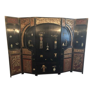 1910s Antique Chinese Asian 6 Panel Coromandel Screen For Sale