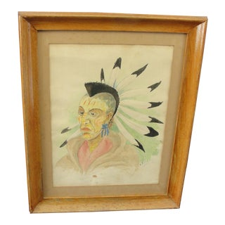 1930s Traditional Watercolor on Paper of Blackhawk Indian by E. Rigling For Sale