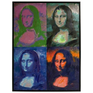 1990s Vintage Mona Lisa Giclee Painting by M. Eisner For Sale
