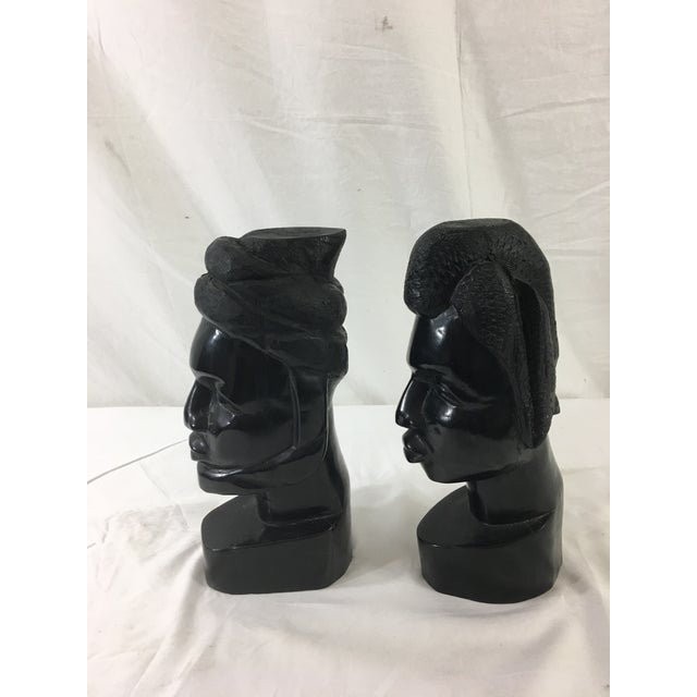 African Carved Gabonese Ebonized Wood Figures - a Pair For Sale - Image 3 of 7