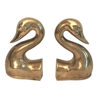 Solid Brass Swan Bookends - a Pair For Sale