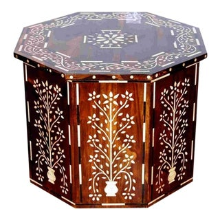 Octagonal Bone Inlay Table 2 For Sale
