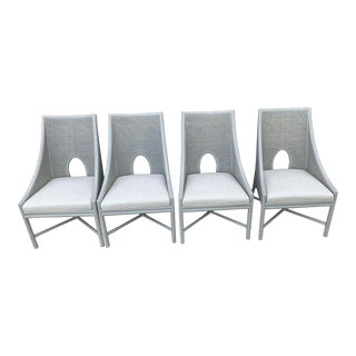 McGuire Rattan Chairs in Gray Set of 4 For Sale