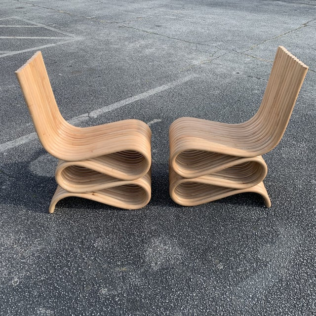 Frank Gehry Style Rattan Chairs- A Pair For Sale - Image 11 of 11