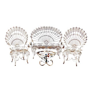Vintage Wrought Iron Peacock Garden Furniture - Set of 4 For Sale