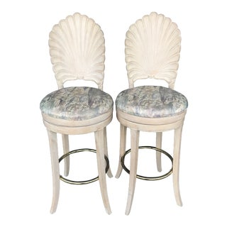 Vintage Carved Shell Back Bar Stools- a Pair For Sale