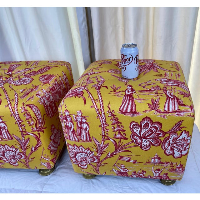 Late 20th Century Vintage Chinoiserie Pouf Footstools with Brass Feat - a Pair For Sale - Image 4 of 10