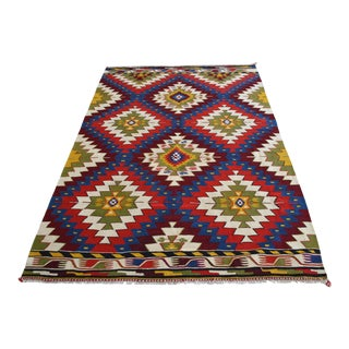 1960s Vintage Colorful Hand-Made Turkish Kilim Rug For Sale