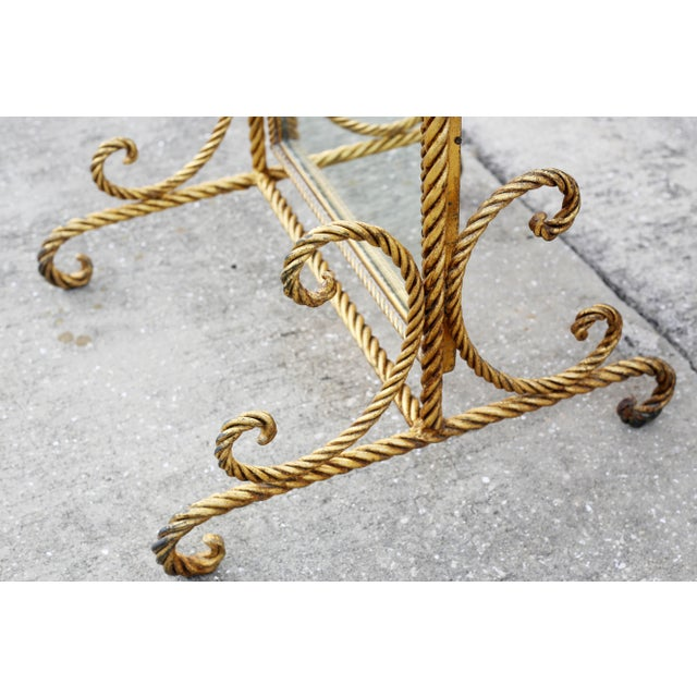 Vintage Gold Gilt Wrought Iron Rope Floor Mirror - Made in Italy For Sale In Tampa - Image 6 of 11