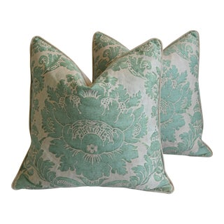 """Italian Mariano Fortuny Vivaldi Feather/Down Pillows 22"""" Square - Pair For Sale"""