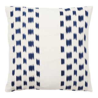 Schumacher Izmir Stripe Pillow in Blue/White 26x26 - Pair For Sale